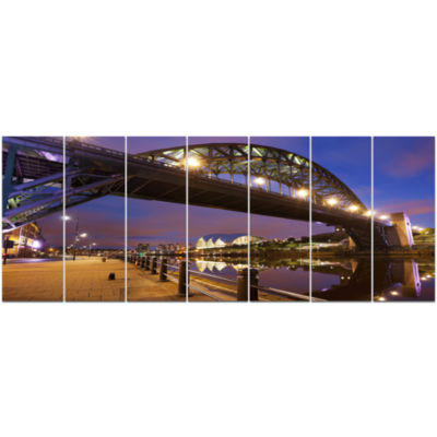 Bridges Over River Tyne Newcastle Cityscape CanvasArt Print - 7 Panels