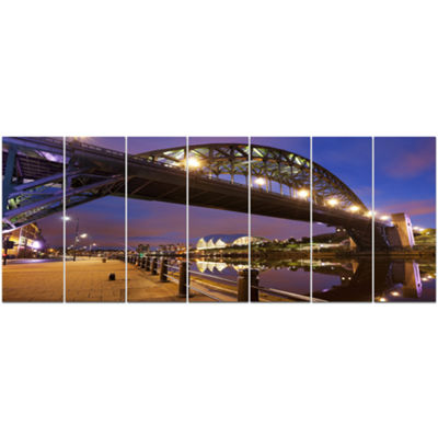 Designart Bridges Over River Tyne Newcastle Cityscape Canvas Art Print - 7 Panels