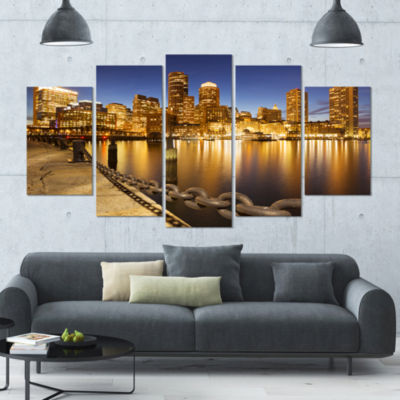 Usa Skyline From Fan Pier At Night Large CityscapeCanvas Art Print - 5 Panels