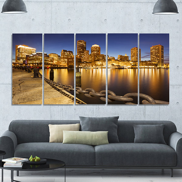 Design Art Usa Skyline From Fan Pier At Night Cityscape Canvas Art Print - 5 Panels
