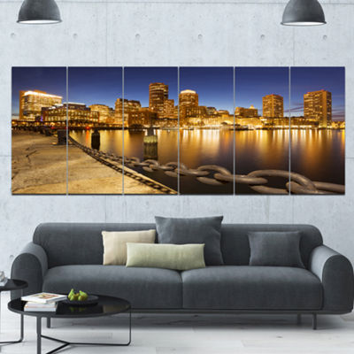 Designart Usa Skyline From Fan Pier At Night Cityscape Canvas Art Print - 6 Panels