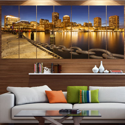 Designart Usa Skyline From Fan Pier At Night Cityscape Canvas Art Print - 7 Panels