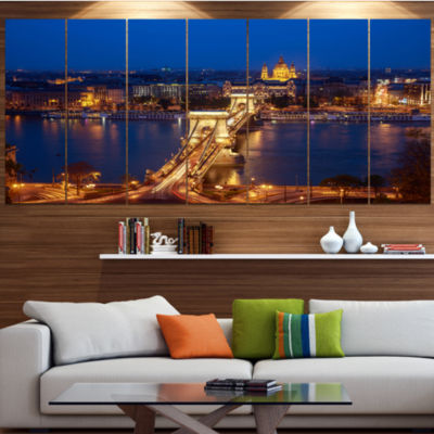 Designart Illuminated Cain Bridge Budapest Cityscape Canvas Art Print - 5 Panels