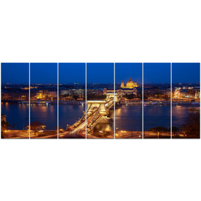 Designart Illuminated Cain Bridge Budapest Cityscape Canvas Art Print - 7 Panels