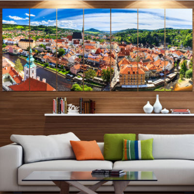 Designart City Aerial View Panorama Cityscape Canvas Art Print - 4 Panels