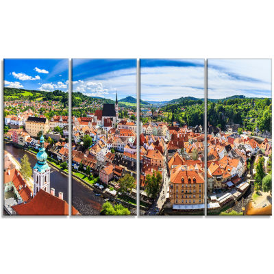 City Aerial View Panorama Cityscape Canvas Art Print - 4 Panels