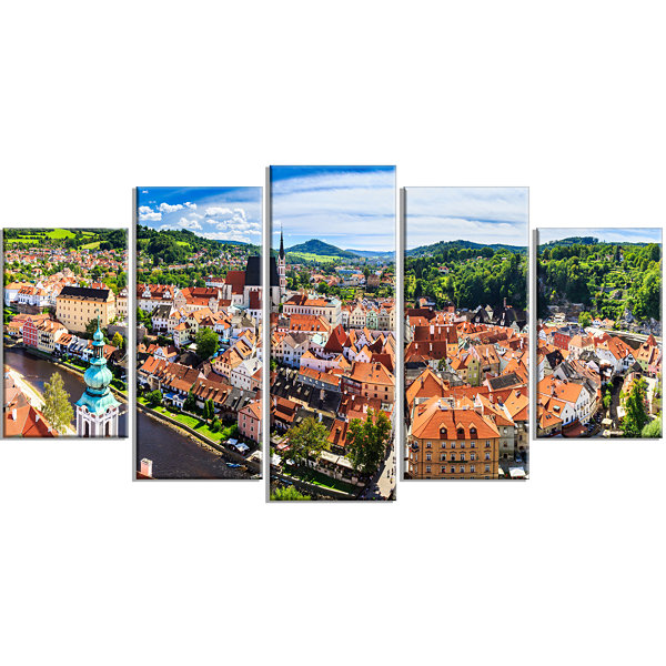 Design Art City Aerial View Panorama Large Cityscape Canvas Art Print - 5 Panels