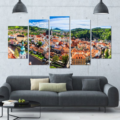 Designart City Aerial View Panorama Large Cityscape Canvas Art Print - 5 Panels
