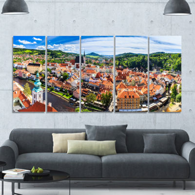 Designart City Aerial View Panorama Cityscape Canvas Art Print - 5 Panels
