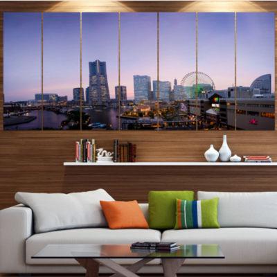 Designart Minato Mirai Yokohama At Twilight Cityscape Canvas Art Print - 7 Panels