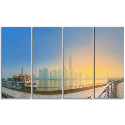 Designart Shanghais Night With Lights Cityscape Canvas Art Print - 4 Panels