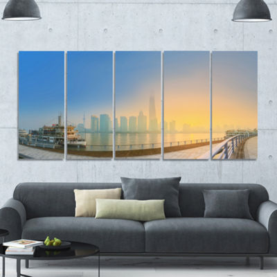 Designart Shanghais Night With Lights Cityscape Canvas Art Print - 5 Panels