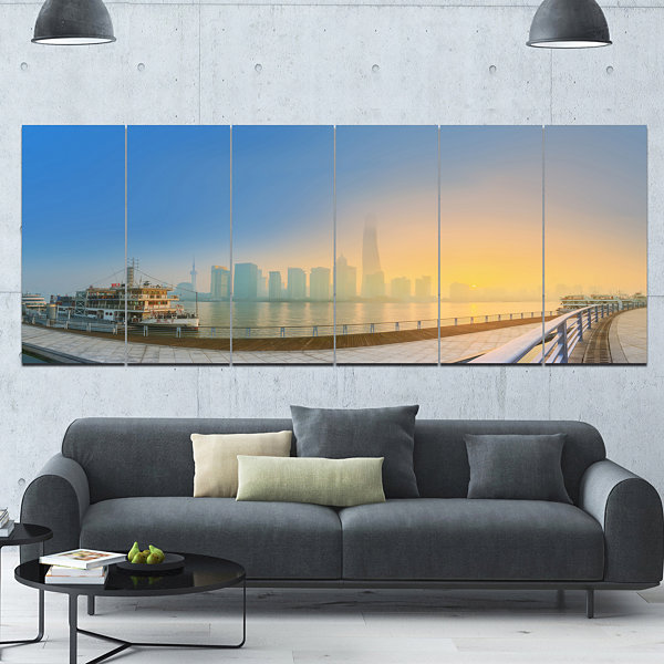 Designart Shanghais Night With Lights Cityscape Canvas Art Print - 6 Panels