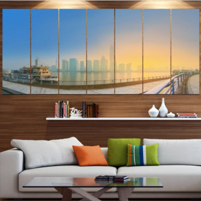 Designart Shanghais Night With Lights Cityscape Canvas Art Print - 7 Panels