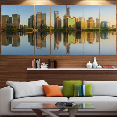 Shanghai Huangpu River At Sunset Cityscape CanvasArt Print - 7 Panels