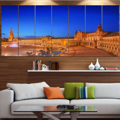 Design Art View Of Spain Square At Sunset Cityscape Canvas Art Print - 4 Panels