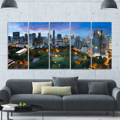 Designart Bangkok City Skyline Cityscape Canvas Art Print -5 Panels