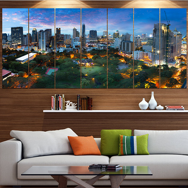 Designart Bangkok City Skyline Cityscape Canvas Art Print -6 Panels