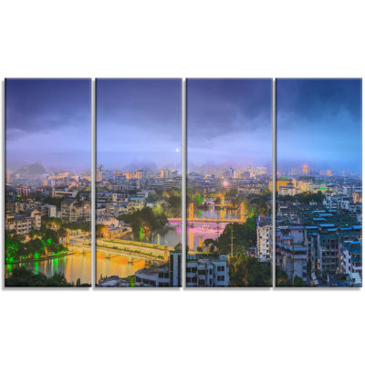 Li River And Karst Hills Panorama Cityscape CanvasArt Print - 4 Panels