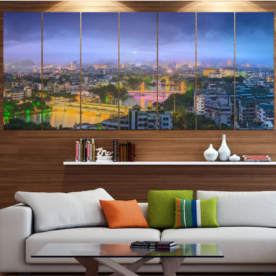Li River And Karst Hills Panorama Large CityscapeCanvas Art Print - 5 Panels