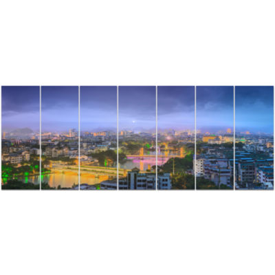 Li River And Karst Hills Panorama Cityscape CanvasArt Print - 7 Panels