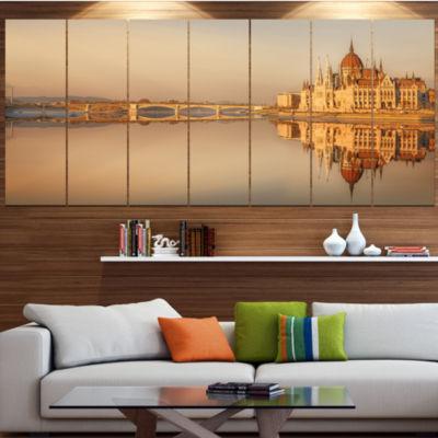 Designart Hungarian Parliament Panorama CityscapeCanvas Art Print - 4 Panels