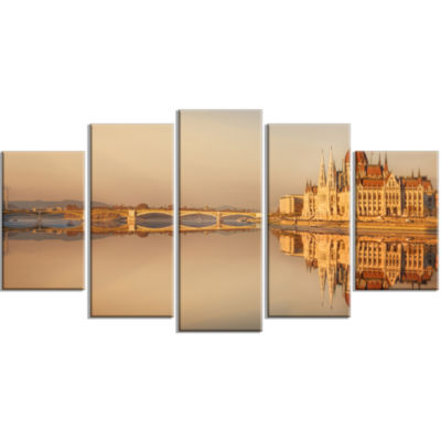 Hungarian Parliament Panorama Large Cityscape Canvas Art Print - 5 Panels