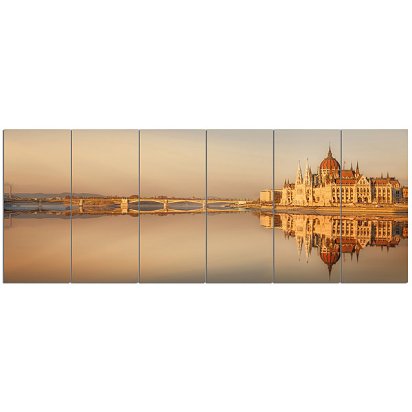 Design Art Hungarian Parliament Panorama CityscapeCanvas Art Print - 6 Panels
