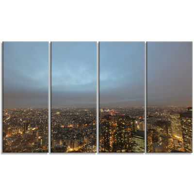 Designart Shinjuku District View Point CityscapeCanvas Art Print - 4 Panels
