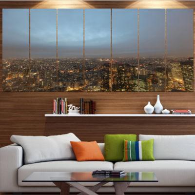 Designart Shinjuku District View Point CityscapeCanvas Art Print - 7 Panels