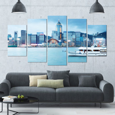 Designart Hong Kong City At Night Large CityscapeCanvas Art Print - 5 Panels