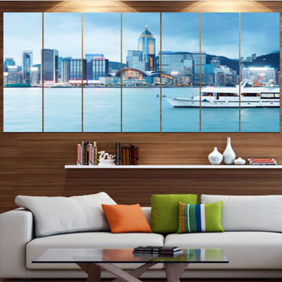 Designart Hong Kong City At Night Cityscape CanvasArt Print- 5 Panels