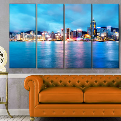 Colorful Hong Kong At Night Cityscape Canvas Art Print - 4 Panels