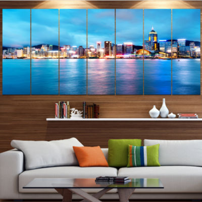 Colorful Hong Kong At Night Cityscape Canvas Art Print - 7 Panels