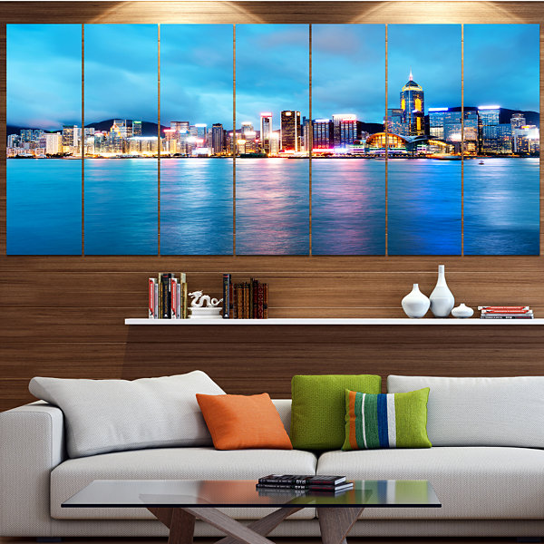 Designart Colorful Hong Kong At Night Cityscape Canvas Art Print - 7 Panels