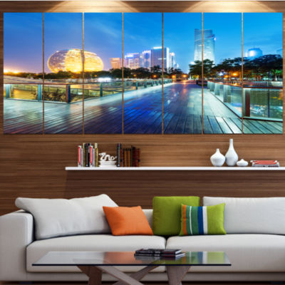 Designart China Hangzhou Skyscrapers Cityscape Canvas Art Print - 4 Panels