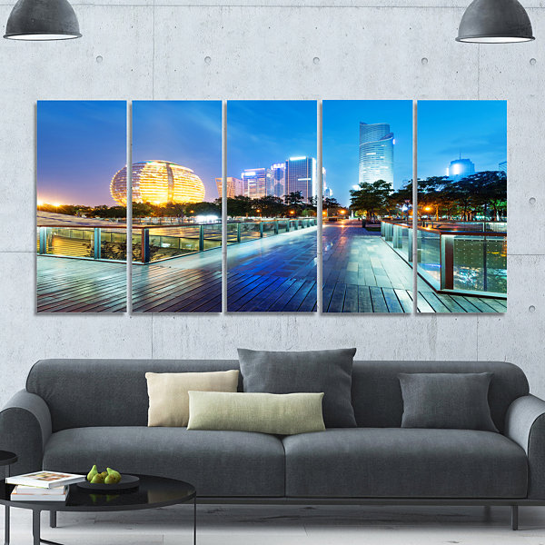 Designart China Hangzhou Skyscrapers Cityscape Canvas Art Print - 5 Panels