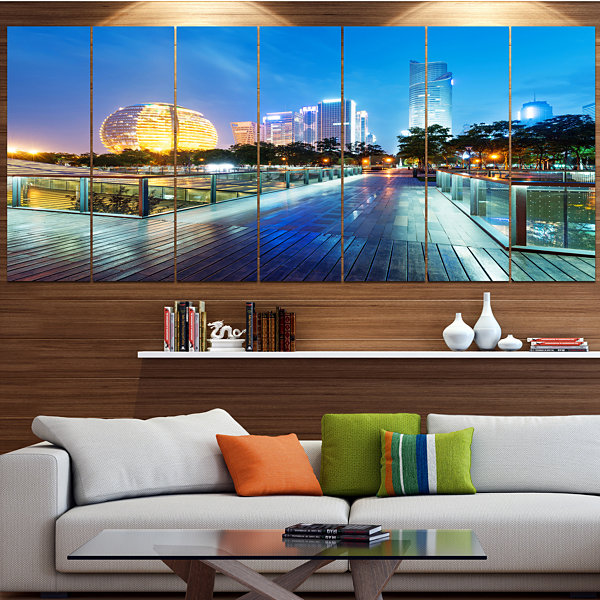 Design Art China Hangzhou Skyscrapers Cityscape Canvas Art Print - 7 Panels