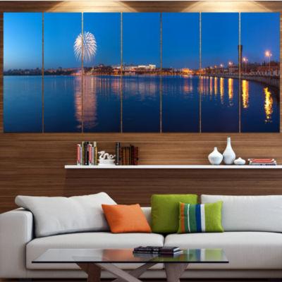 Designart Embankment Of City Panorama Cityscape Canvas Art Print - 5 Panels