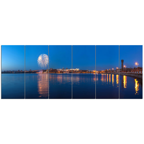 Design Art Embankment Of City Panorama Cityscape Canvas Art Print - 6 Panels