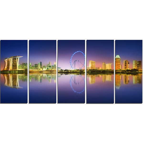 Designart Singapore Skyline And Blue Sky CityscapeCanvas Art Print - 5 Panels