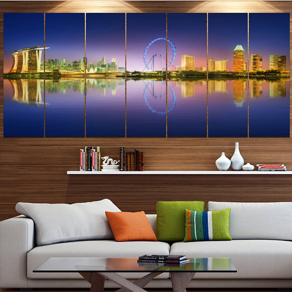 Design Art Singapore Skyline And Blue Sky Cityscape Canvas Art Print - 6 Panels