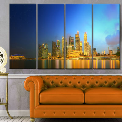 Singapore Skyline And Marina Bay Cityscape CanvasArt Print - 4 Panels