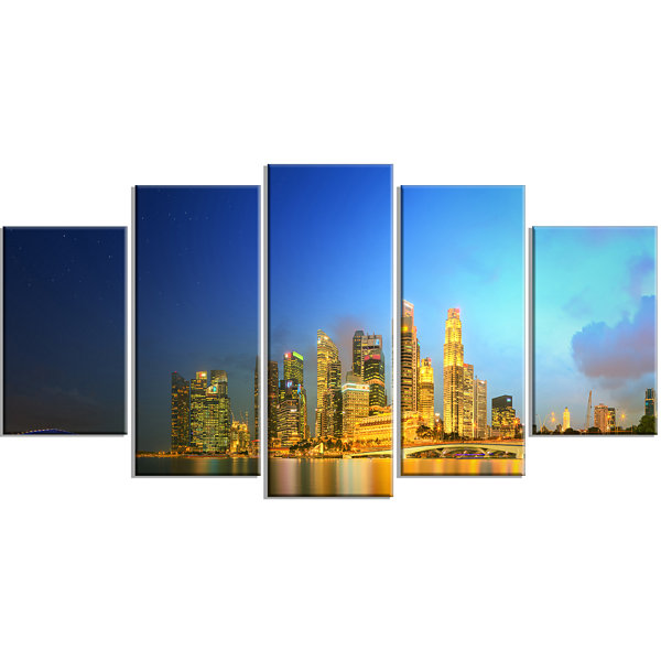 Designart Singapore Skyline And Marina Bay LargeCityscape Canvas Art Print - 5 Panels
