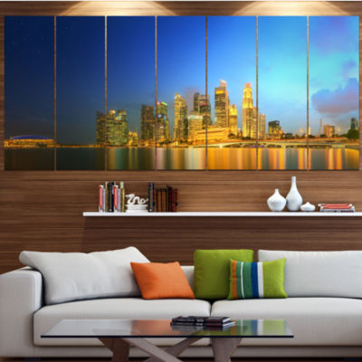 Design Art Singapore Skyline And Marina Bay Cityscape Canvas Art Print - 5 Panels