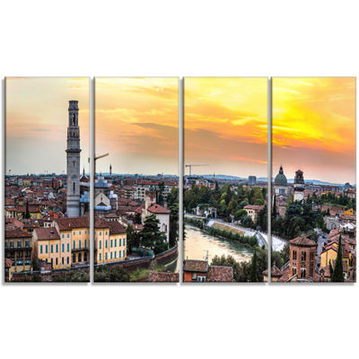 Designart Verona At Sunset In Italy Cityscape Canvas Art Print - 4 Panels