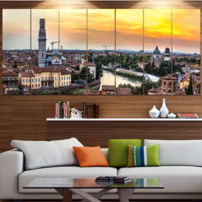 Designart Verona At Sunset In Italy Cityscape Canvas Art Print - 7 Panels