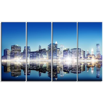 Skyscraper On New York City Cityscape Canvas Art Print - 4 Panels
