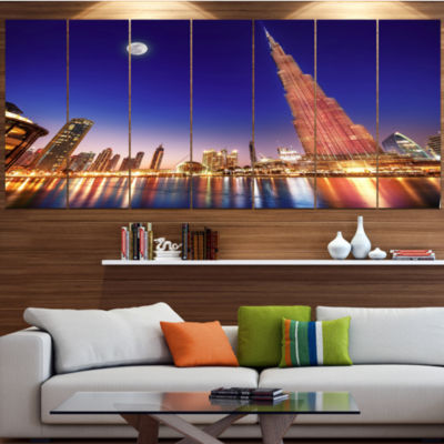 Designart Burj Khalifa Night Landscape CityscapeCanvas Art Print - 7 Panels