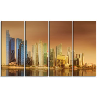 Designart Singapore Skyline Under Brown Sky Cityscape Canvas Art Print - 4 Panels
